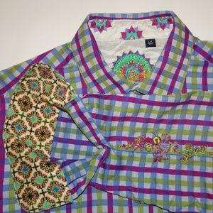 Robert Graham Plaid Shirt | Purple, Green | Large